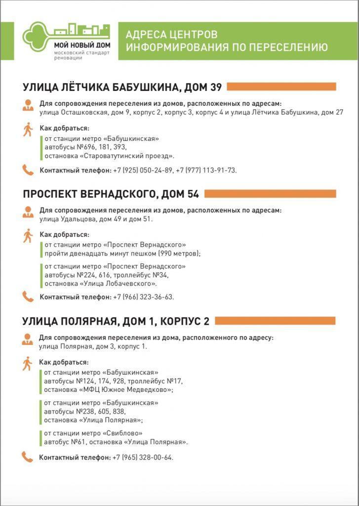 центры информирования по реновации