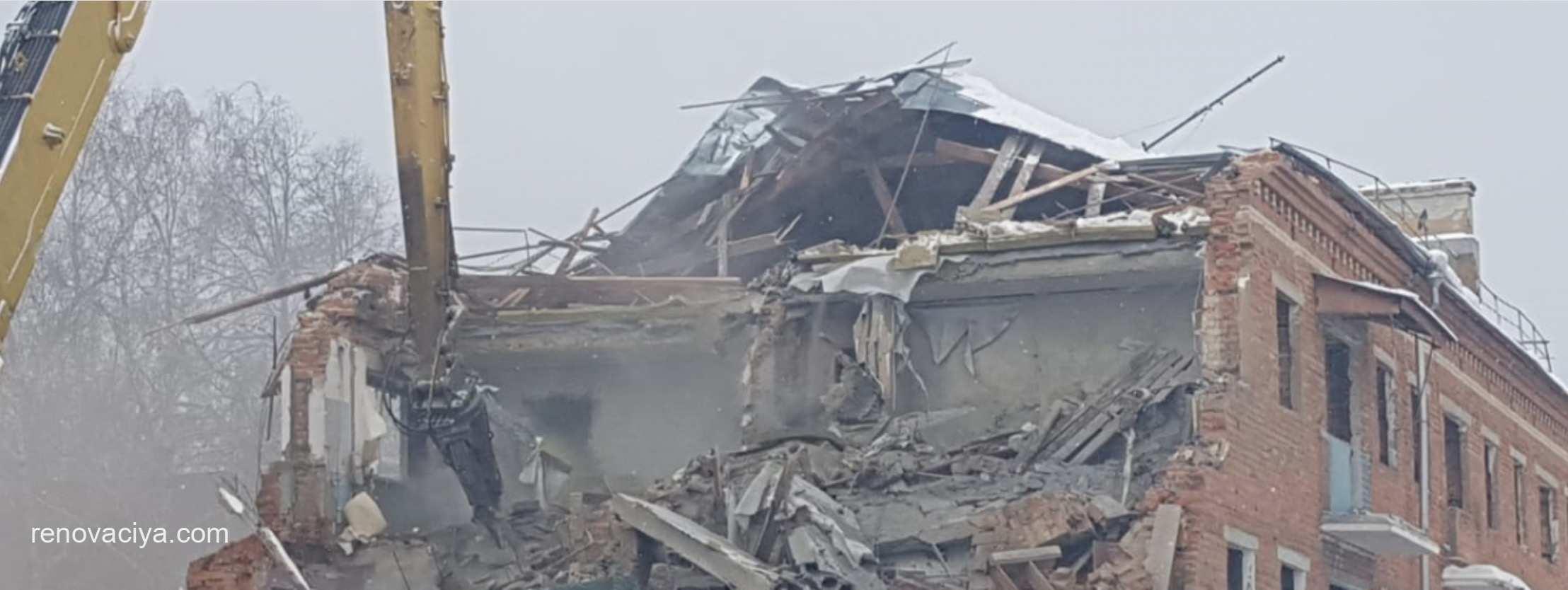 Начался снос дома в районе Южное Бутово